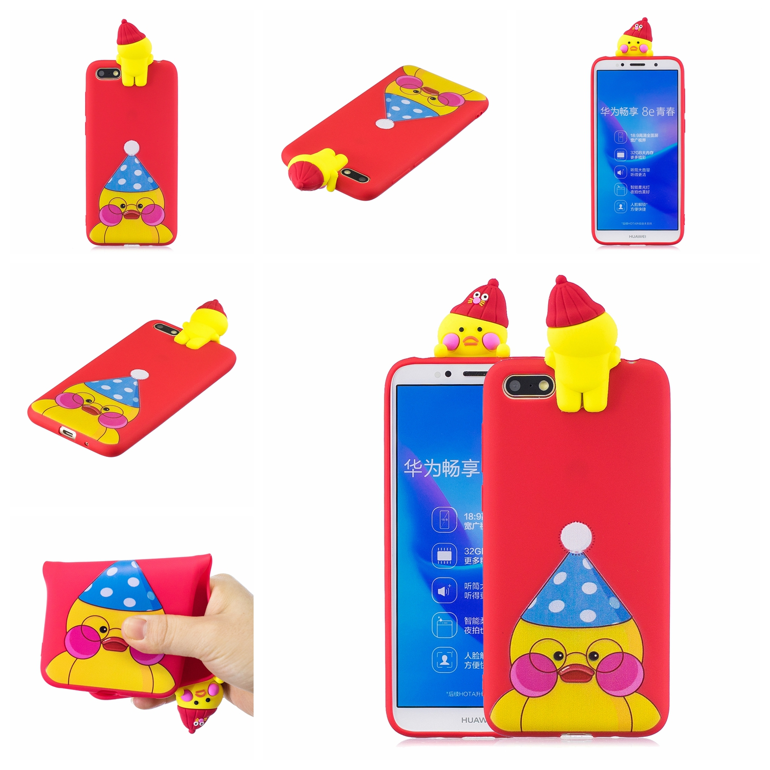 For HUAWEI Y5 2018 3D Cute Coloured Painted Animal TPU Anti-scratch Non-slip Protective Cover Back Case red