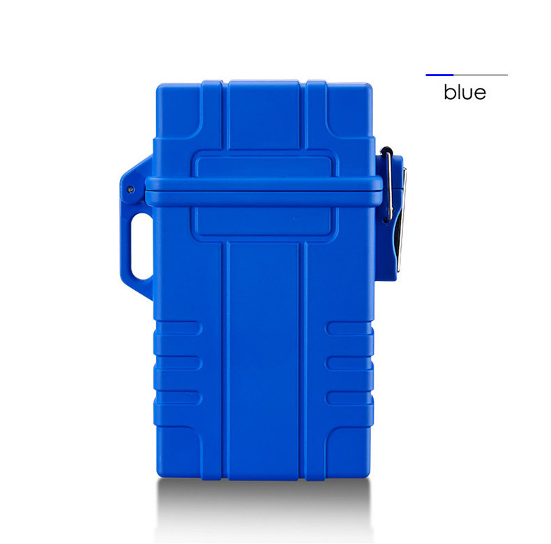 Slim Cigarette Case Box with USB Electronic Lighter Waterproof Cigarette Holder 20pcs Capacity  blue