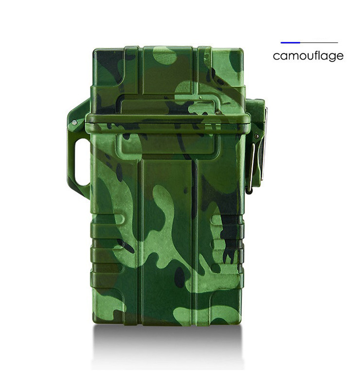 Slim Cigarette Case Box with USB Electronic Lighter Waterproof Cigarette Holder 20pcs Capacity  Camouflage