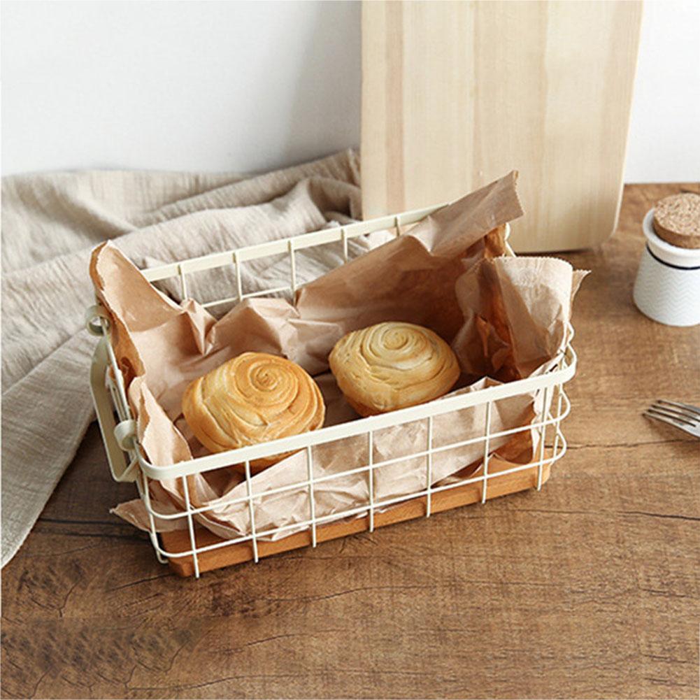 Household Iron Art Storage Basket Kitchen Bedroom Sundries Snacks Organizer Basket Black White white_S