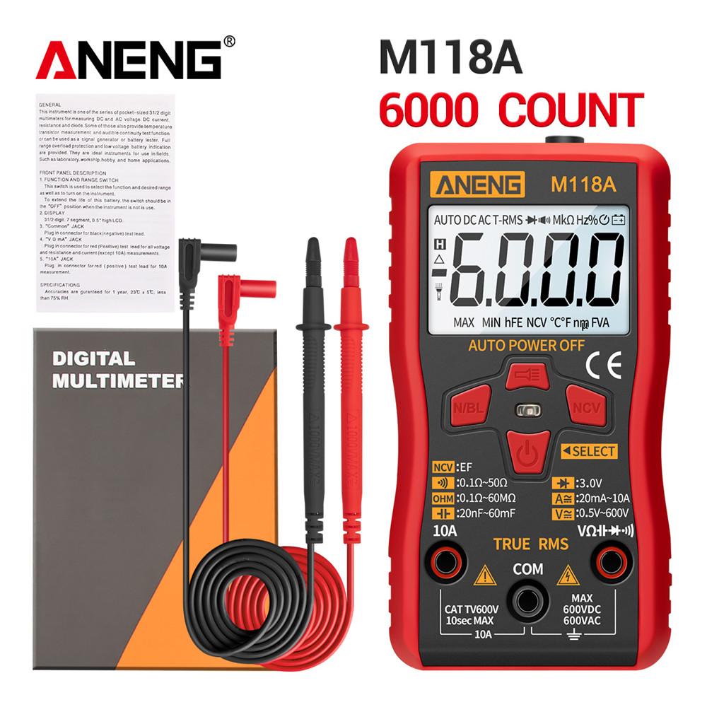 M118A Digital Mini Multimeter Tester Auto Mmultimetro True Rms Tranistor Meter with NCV Data Hold 6000counts Flashlight BGD0070