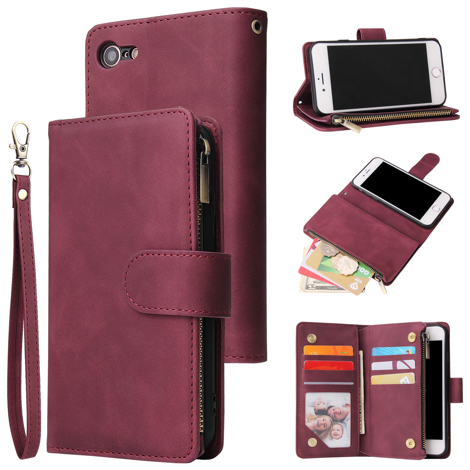 For iPhone 6 / 6S iPhone 6 plus / 6S plus iPhone 7 / 8 iPhone 7 plus / 8 plus Smart Phone Cover Coin Pocket with Cards Bracket Zipper Phone PU Leather Case Phone Cover  iPhone 7 / 8