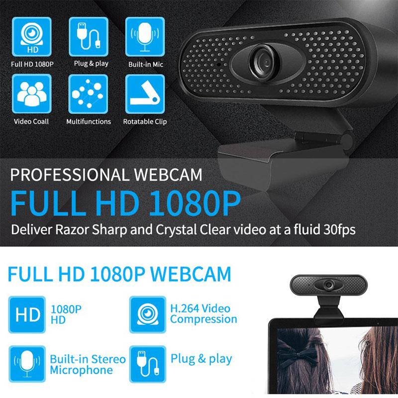 HD 1080P Webcam Q6 Computer Camera with Microphone Driver-free Video Webcam HD1080P