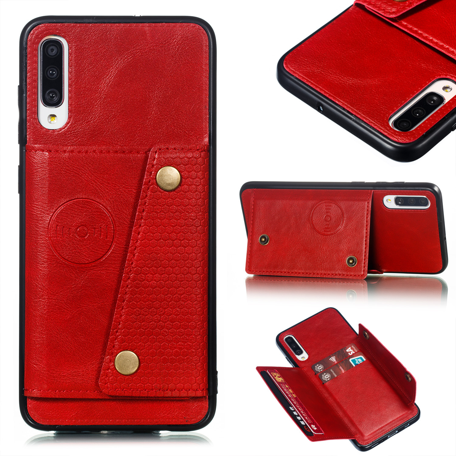 For Samsung A70 Double Buckle Non-slip Shockproof Cell Phone Case with Card Slot Bracket red