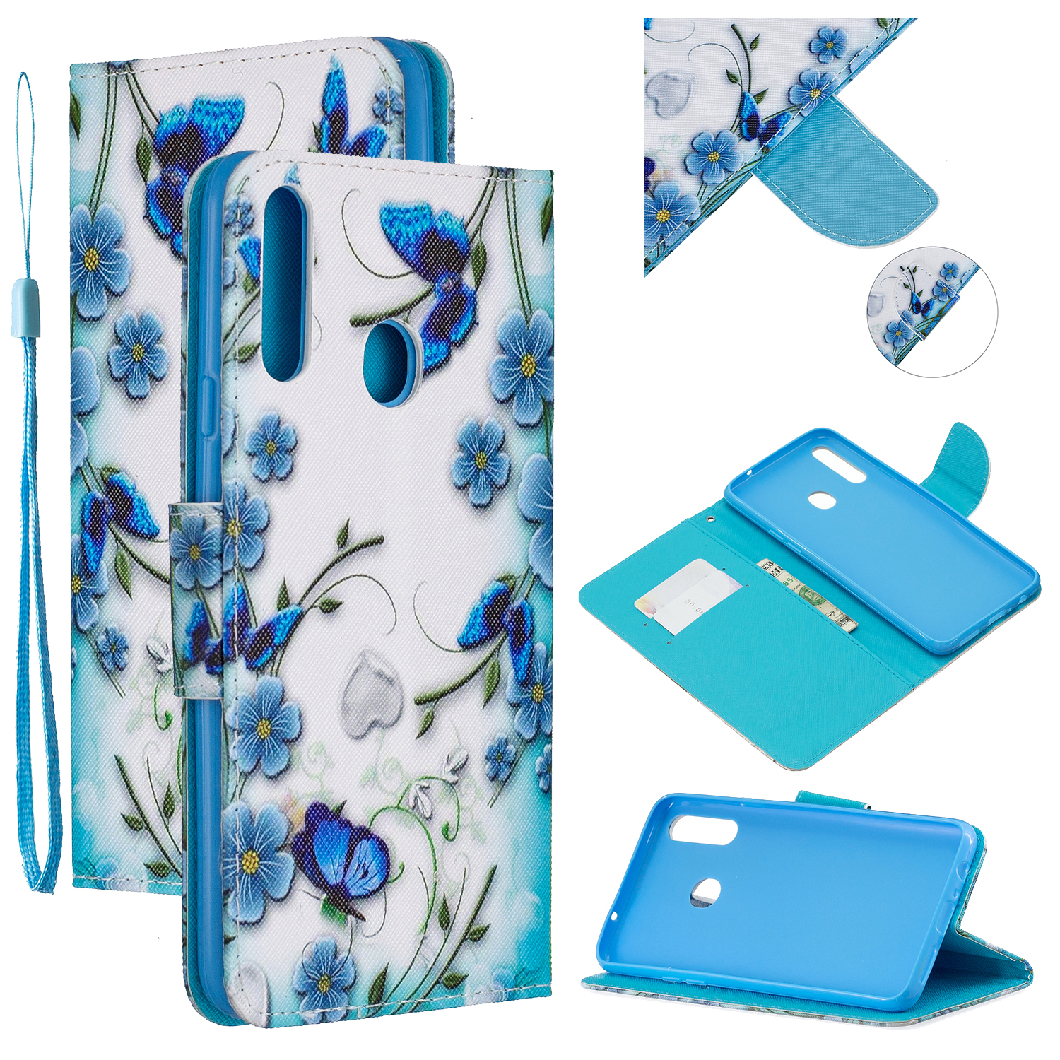 For Samsung A10S/A20S Smartphone Case PU Leather Phone Shell Lovely Cartoon Pattern Card Slots Overall Protection Magic butterfly