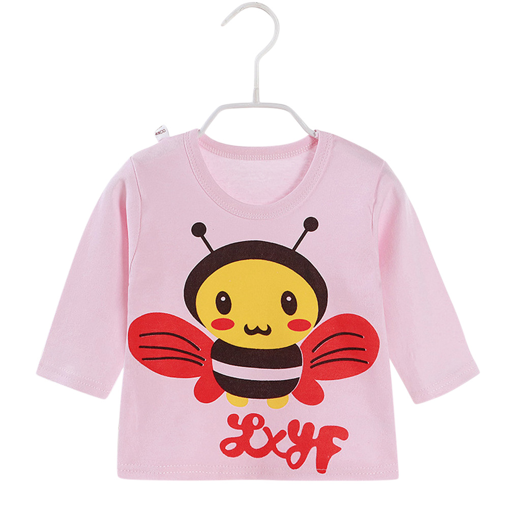 Children's T-shirt Long-sleeve Cotton Bottoming Crew- Neck Shirt for 0-4 Years Old Kids Pink _90cm