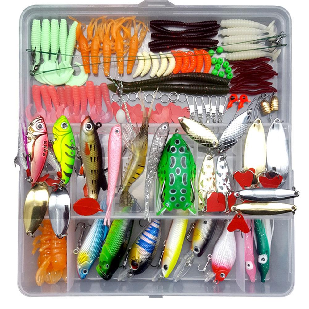 75pcs/94pcs/122pcs/142pcs Fishing Lures Set Spoon Hooks Minnow Pilers Hard Lure Kit In Box Fishing Gear Accessories 122 pieces (random color samples)