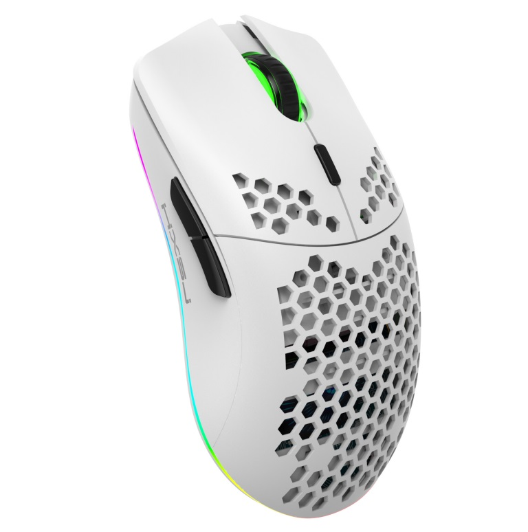 750mAh 2.4G Wireless Computer Mouse Rechargeable Rgb Hole Gaming Mouse white