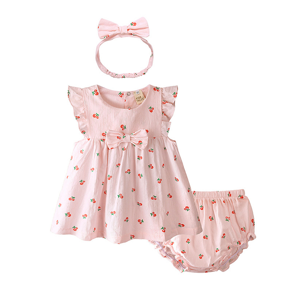 Infant Baby Toddler Sweet Strawberry Round Neck Short Sleeve Princess Dress+Shorts+Headband Three Piece Suit Outfit QZ4058P cherry_90
