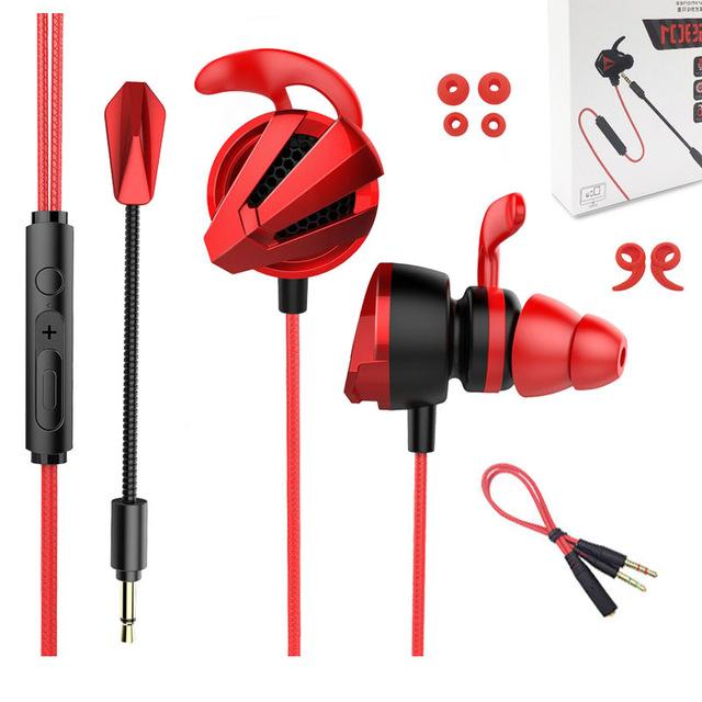 Earphone Gamer Hearing Helmets For Pubg PS4 CSGO Casque Games Headset With Mic Gamer Earphones red