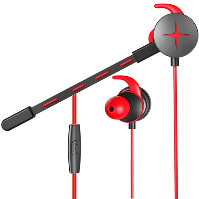 3.5mm Wired Gaming Headset with Pluggable Microphone Portable Stereo Headphones red