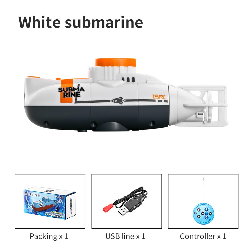 Children's Toy Remote Control Submarine Diving Fish Tank Toy Mini Rc Simulation Submarine White