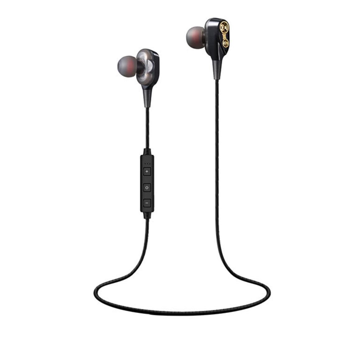 4 Speaker Wireless Bluetooth Earphone inear Sport HIFI Stereo Bass Earphones Music Headset Neckband Earbud black