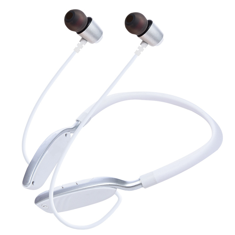 Wireless Sports Bluetooth Earphone Hanging Neck Card Stereo Sports Bluetooth Headset white
