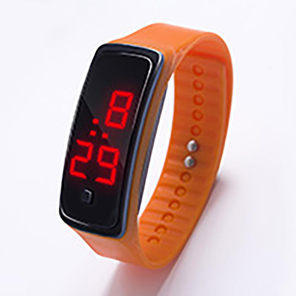 LED Digital Display Bracelet Watch Children's Students Silica Gel Sports Watch Orange