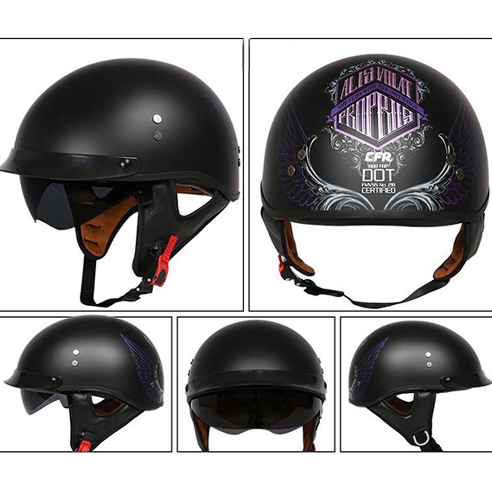 Retro Helemt Half Face Motorcylce Hat FRP Prince Helmet Asian Black Freedom Wing XL