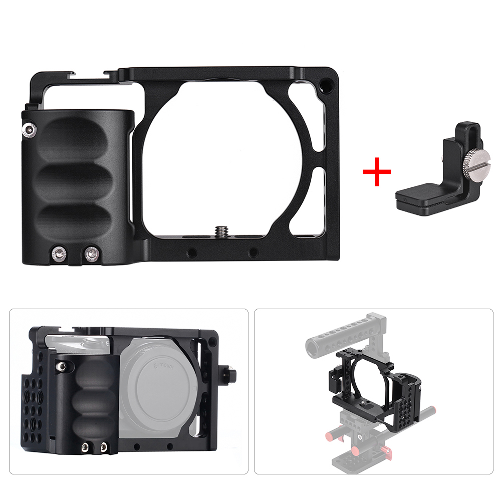 for Sony A6000 A6300 A6500 NEX7 Video Camera Cage + Hand Grip Kit Film Making System with Cable Clamp black