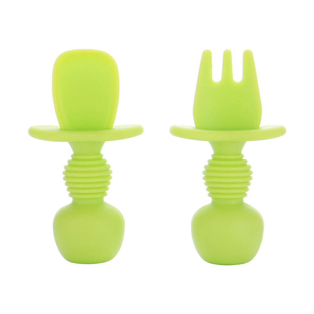 2PCS Baby Silicone Spoon Plate Baby Feeding Supplies Baby Silicone Fork Food Grade Newborn Accessories green