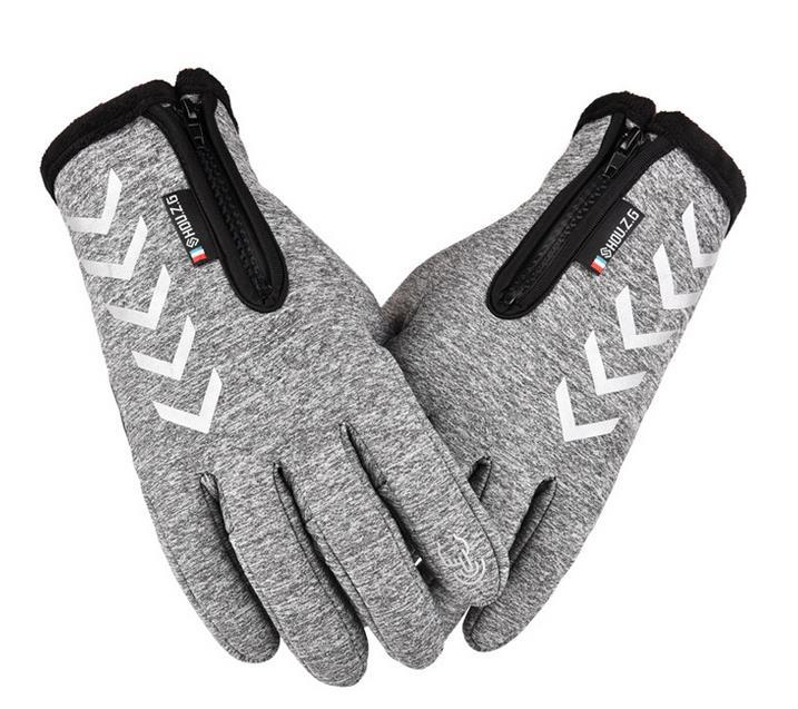 Men Women Zipper Gloves Warm Windproof Touch Screen Outdoor Sports Riding Gloves Long finger gray_M