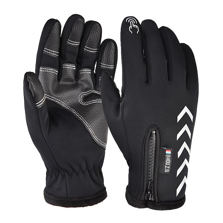 Men Women Zipper Gloves Warm Windproof Touch Screen Outdoor Sports Riding Gloves Long finger black_L