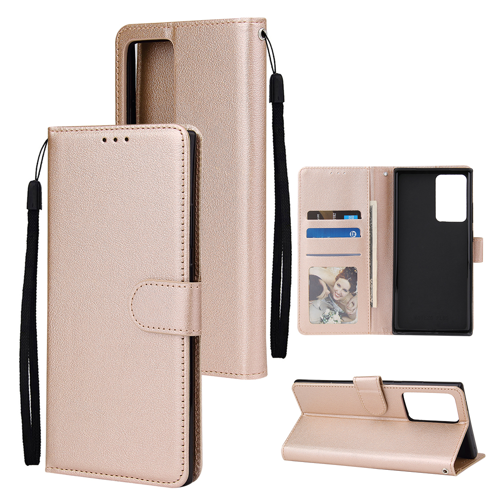 For Samsung Note 20/Note 20 Ultra PU Leather Three-card Photo Frame Front Buckle Mobile Phone shell Golden