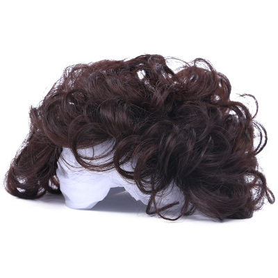 Wig Piece Hair Curly Topper Toupee Hairpiece Top Short Wigs For Women Dark brown