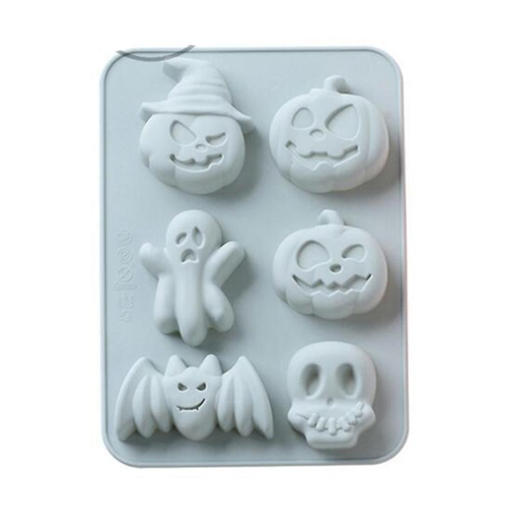 6 Hole Halloween Silica Gel Cake Mould Pumpkin Skull Baking Mould  blue