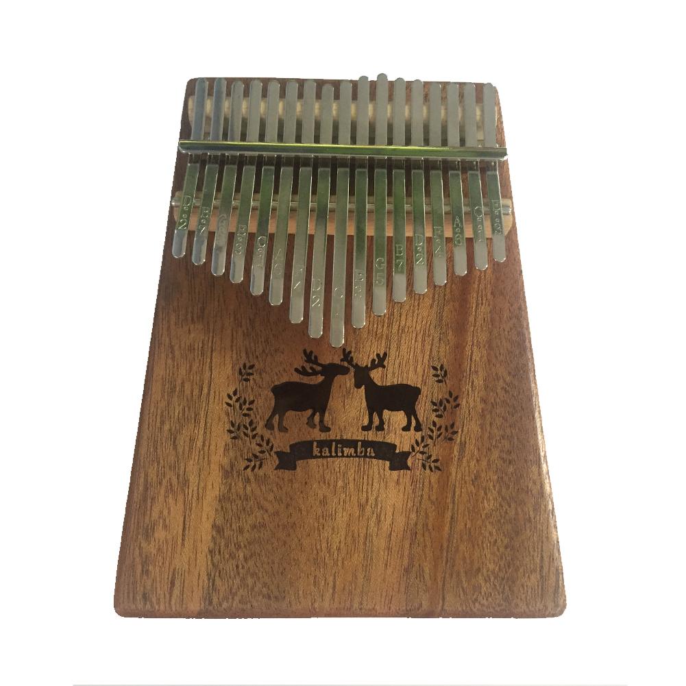 17 Keys Kalimba Thumb Piano Mahogany Body Deer Pattern Musical Instrument Solid Wood Portable Mbira  Wood color