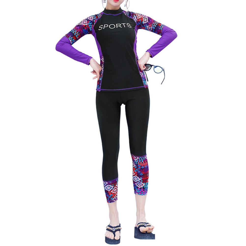 2pcs/set Women Long Sleeve Sunscreen Swimming Suit for Surf Diving Swimsuit black_XL
