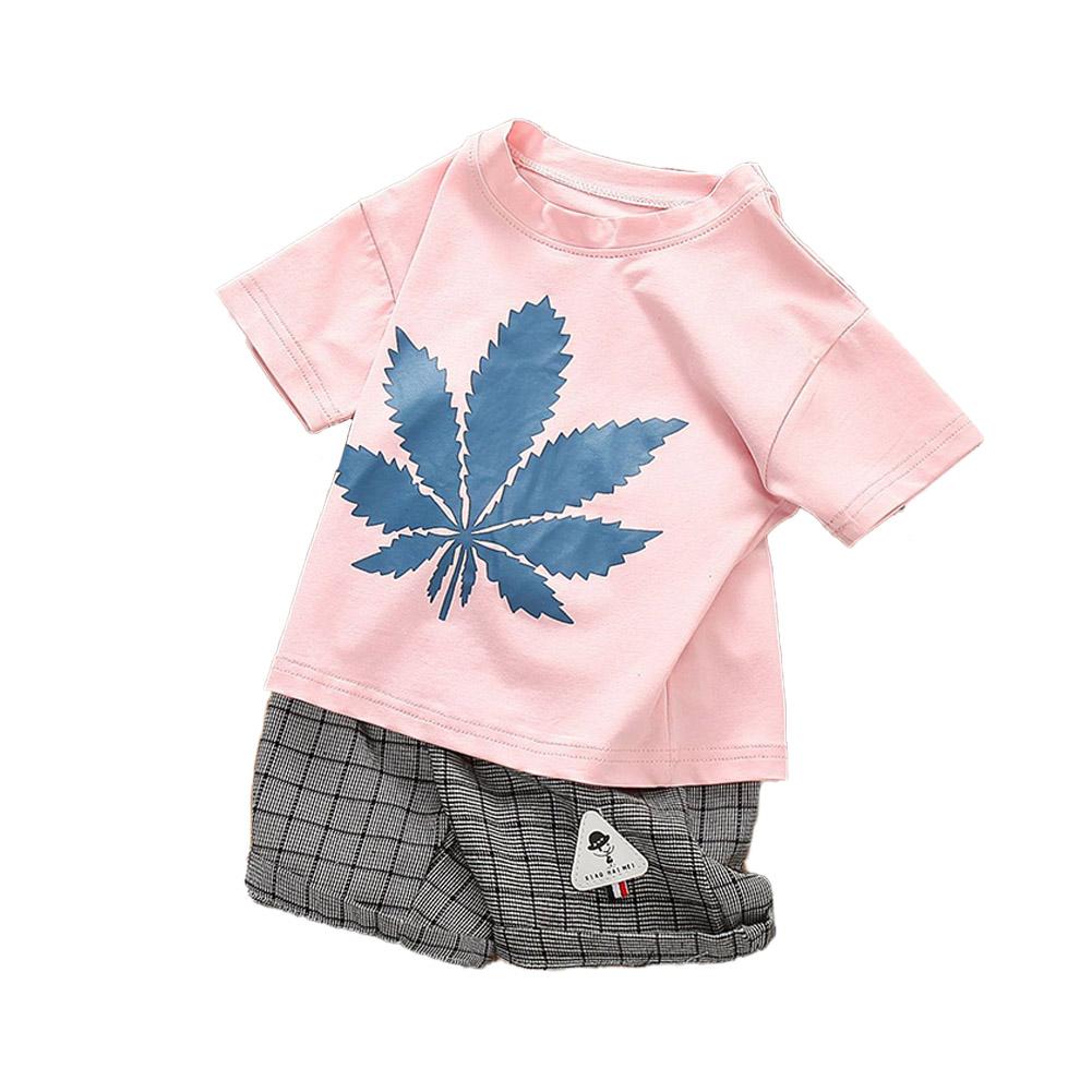 2 Pcs/set  Children's Suit Cotton Maple Leaf Pattern Short Sleeve + Plaid Shorts for 0-3 Years Old Kids Pink_100cm
