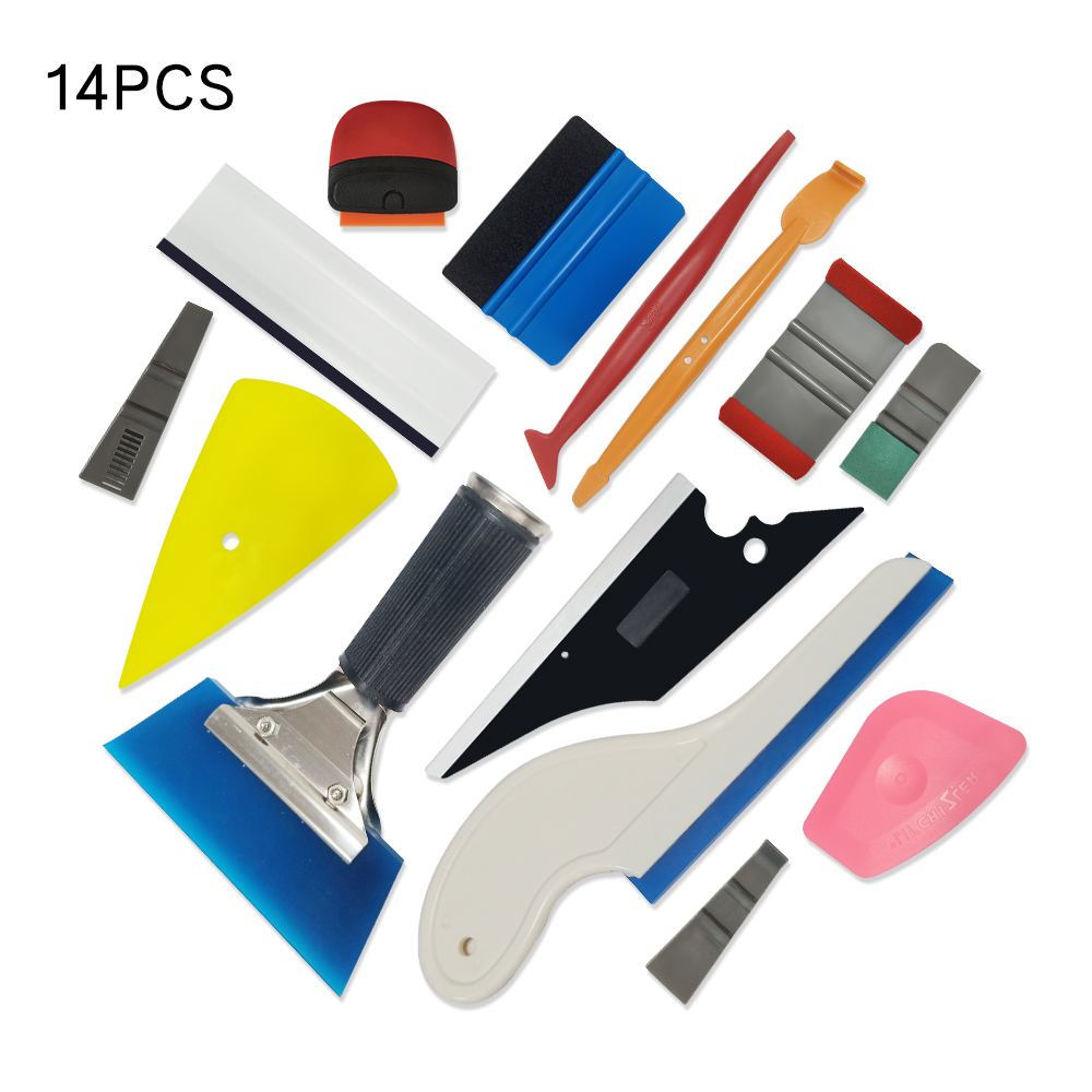 Car Vinyl Wrap Tool Set Magnet Squeegee Stick Squeezing Scraper Carbon Fiber Film Wrapping Cutter Aid Tool Window Tinting 14 pieces