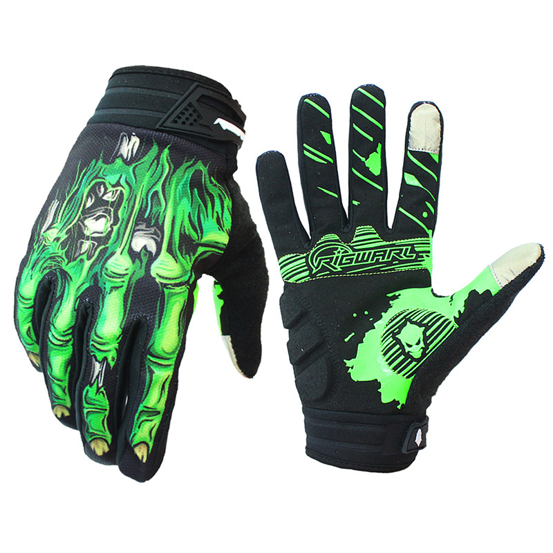 1 Pair Nylon Motorcycle Cross-country Gloves Riding Gloves Breathable Anti-skid Touch Screen Gloves green_M