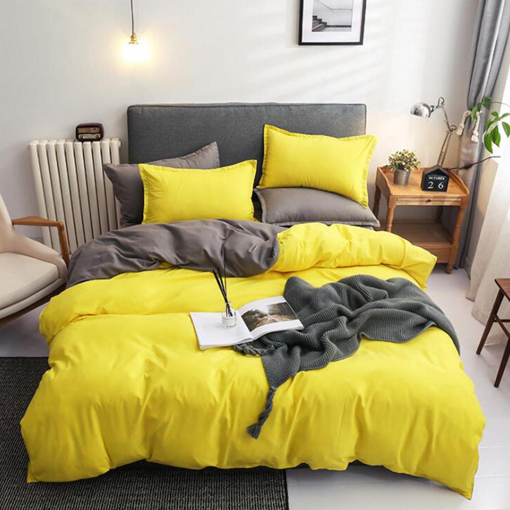 4pcs/set Bed  Cover  Set Chemical Fiber 90g Solid Color Covering For Living Room Lemon-grey_1.8 four-piece set