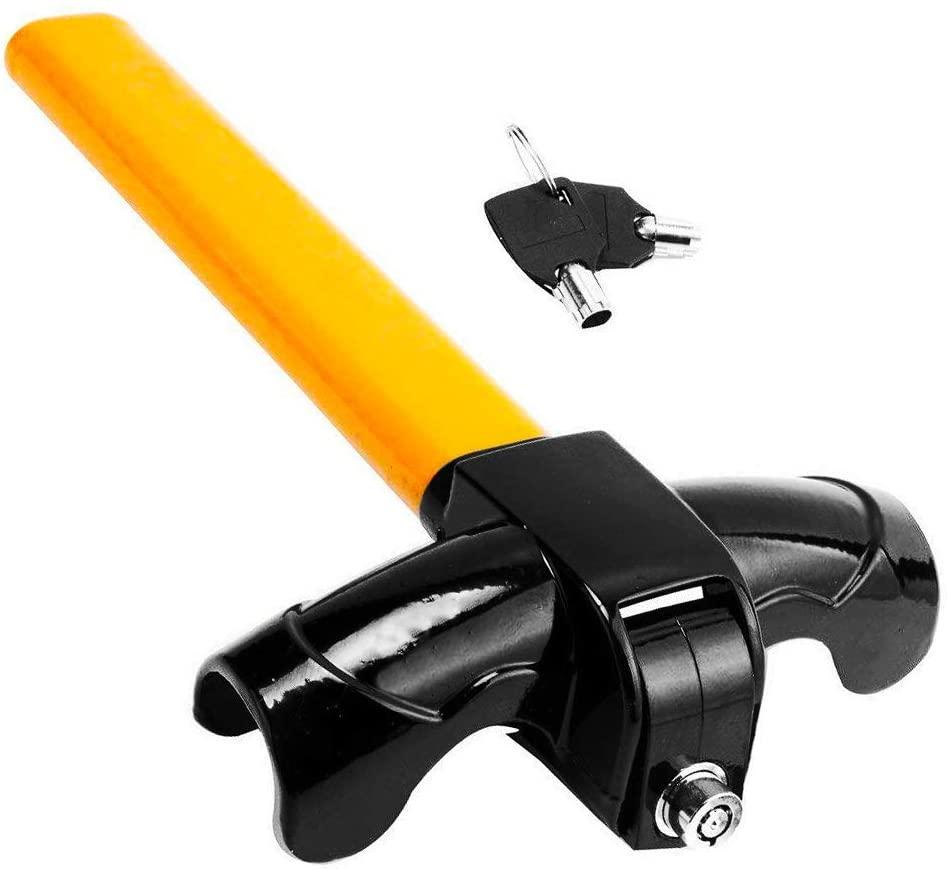 Universal Security Anti Theft Heavy Duty Car Suvs Rotary Steering Wheel Lock Yellow black