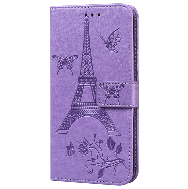 For iPhone12 iPhone12Pro 6.1 Inches Leather Case Flip Cover Card Slots Stand Bag purple