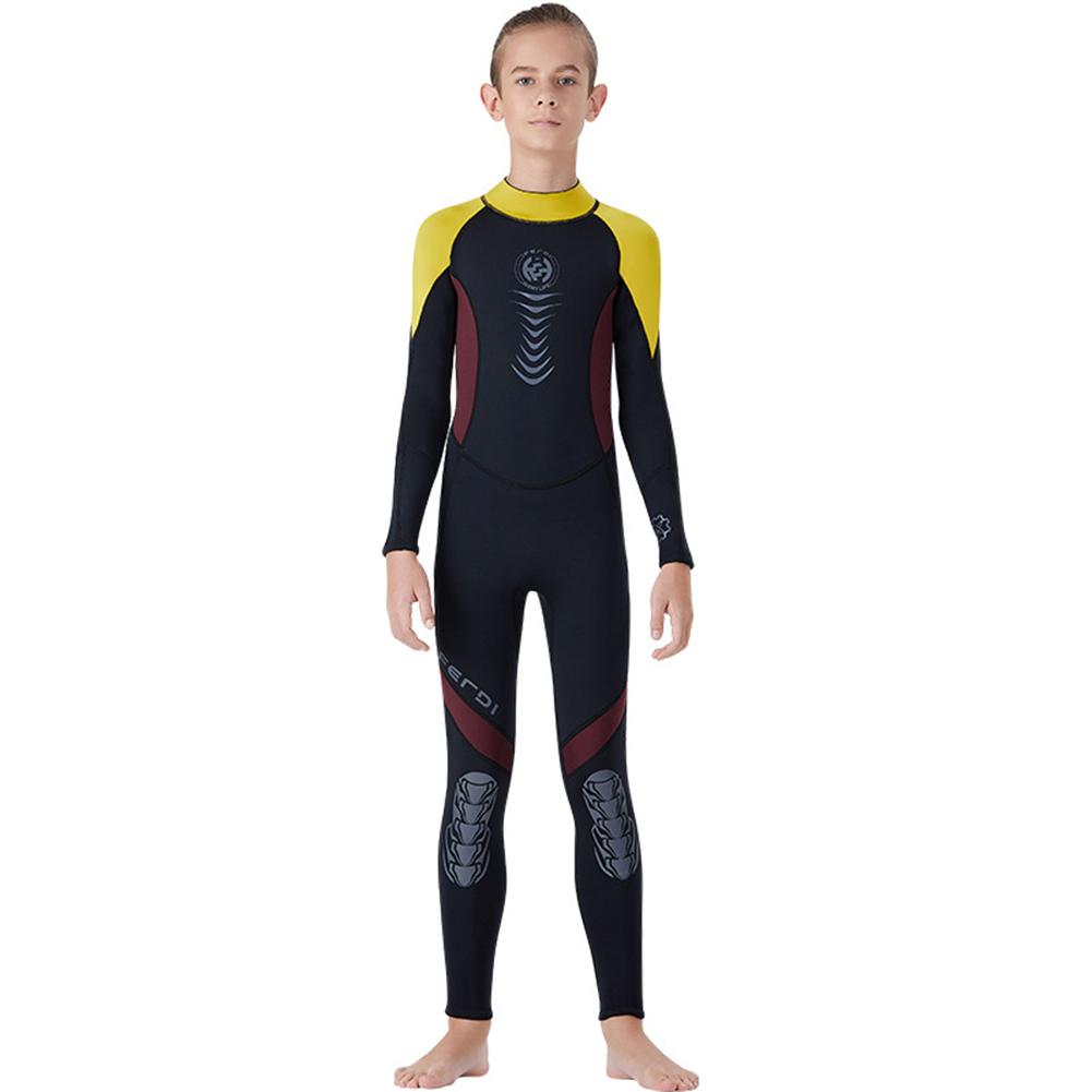 Super Elastic Children Diving Suit 2.5MM Siamese Warm Junior Long Sleeve Surfing Suit yellow_L