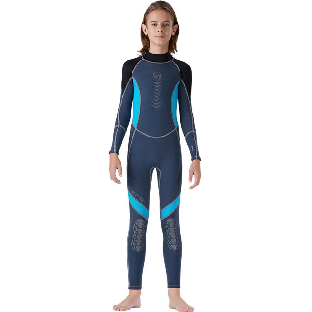 Super Elastic Children Diving Suit 2.5MM Siamese Warm Junior Long Sleeve Surfing Suit black_L