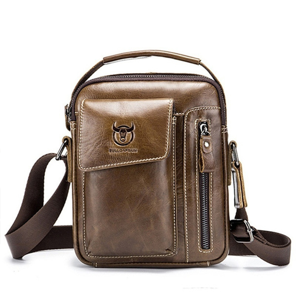 Men's Crossbody Pack Solid Color Sports Leisure Leathe Shoulder Bag Chestnut brown