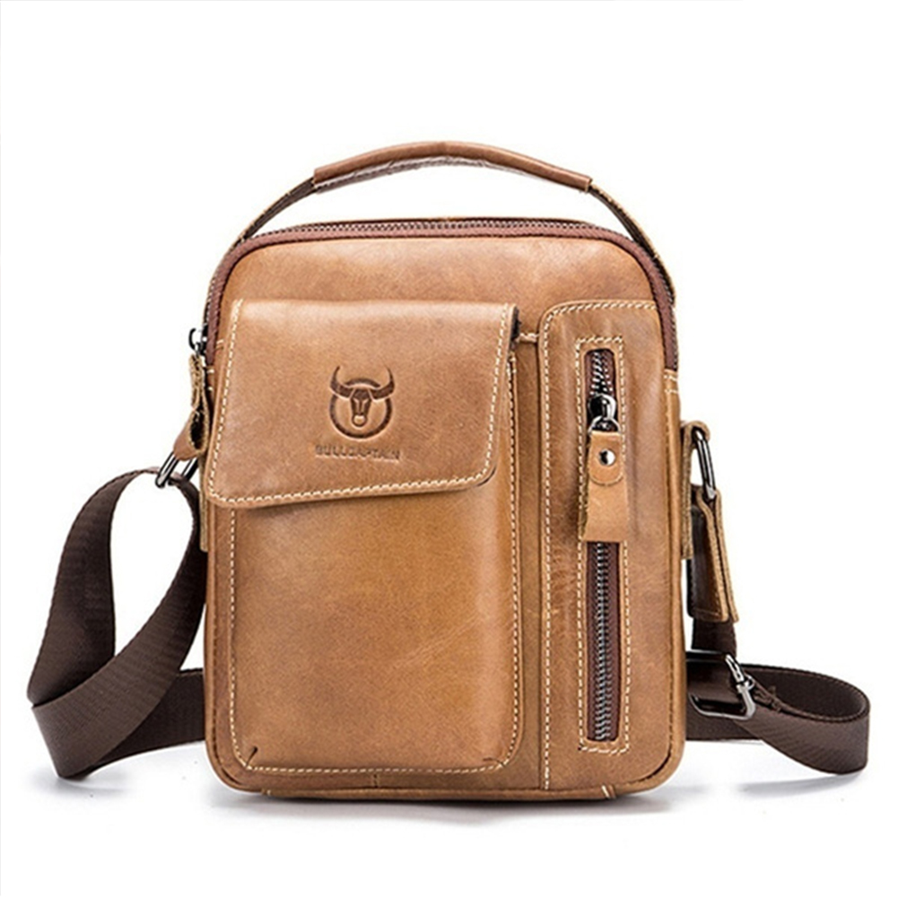 Men's Crossbody Pack Solid Color Sports Leisure Leathe Shoulder Bag Yellowish brown