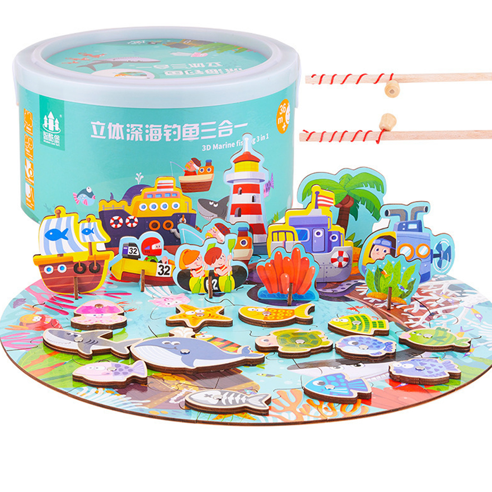 3 in 1 Kids Wooden Magnetic Puzzle Toy Fishing Early Education Parent -child Interactive Toy Gift