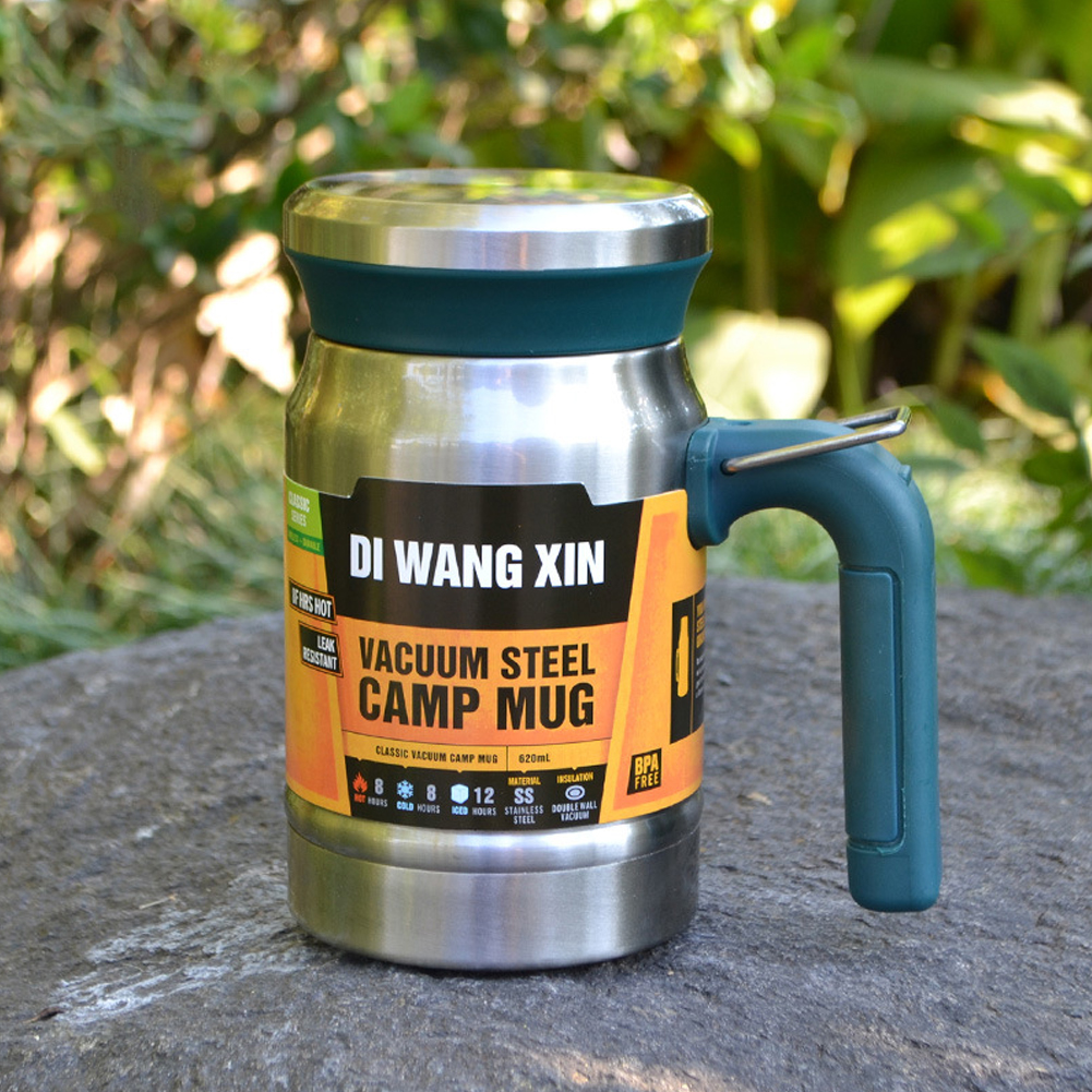 Outdoors Stainless Steel Vacuum Cup Tea Cup Office Double Layers Filter Mug with Handle Steel color without handle