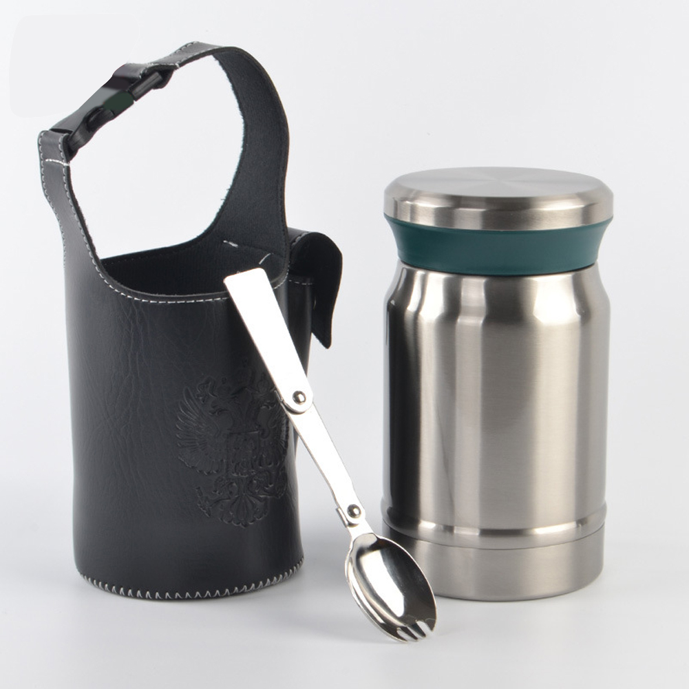 Outdoors Stainless Steel Vacuum Cup Tea Cup Office Double Layers Filter Mug with Handle Steel color