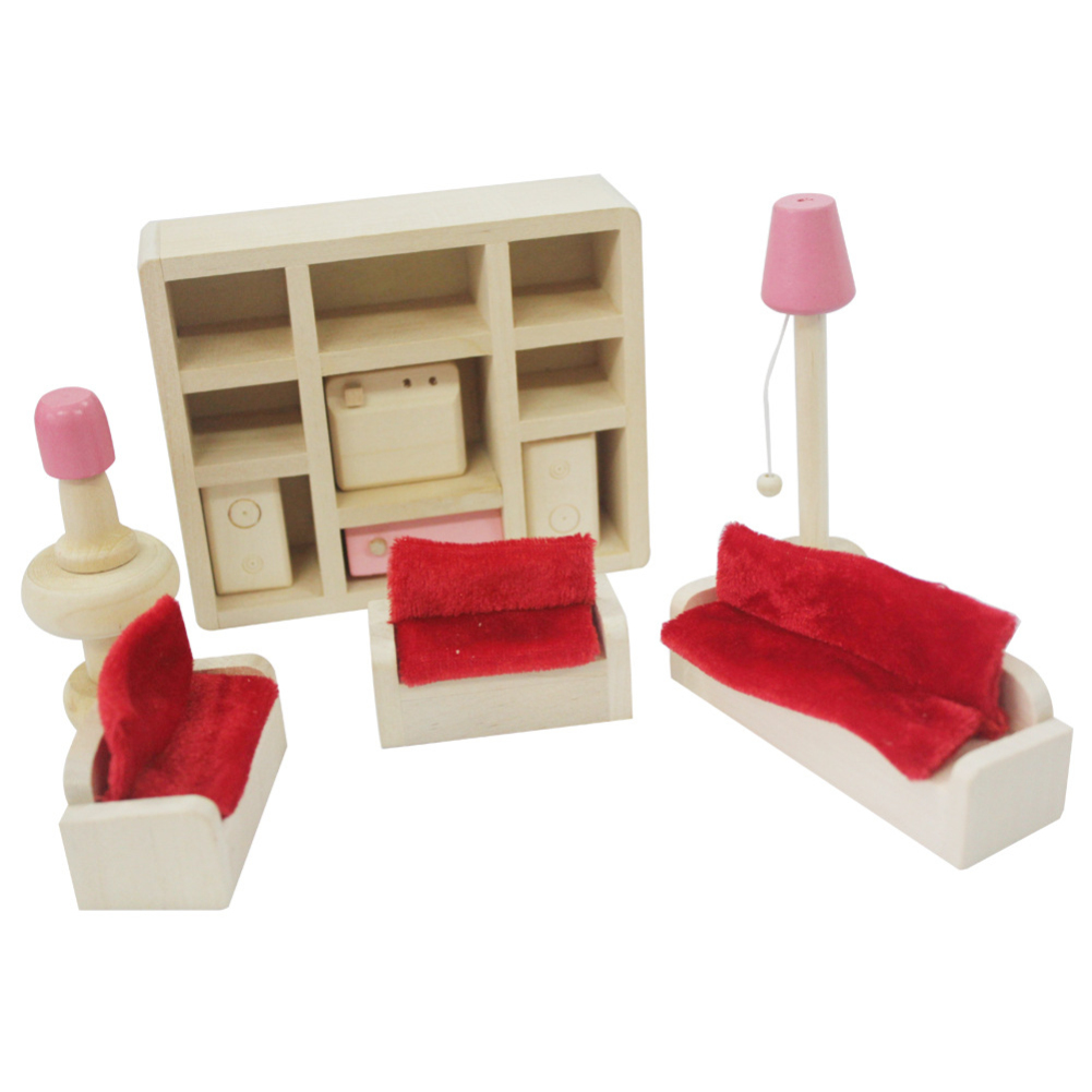 Furniture Toys Set Wooden Dollhouse Miniature for Kids Pretend Play Rooms Set living room
