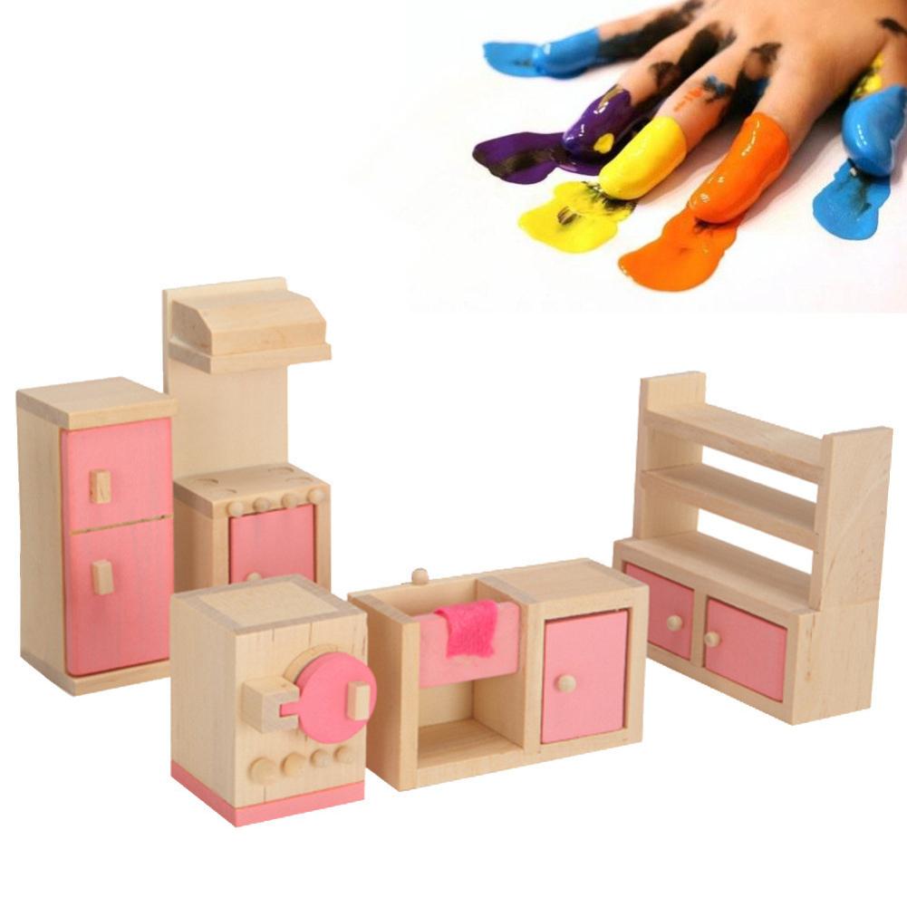 Furniture Toys Set Wooden Dollhouse Miniature for Kids Pretend Play Rooms Set kitchen