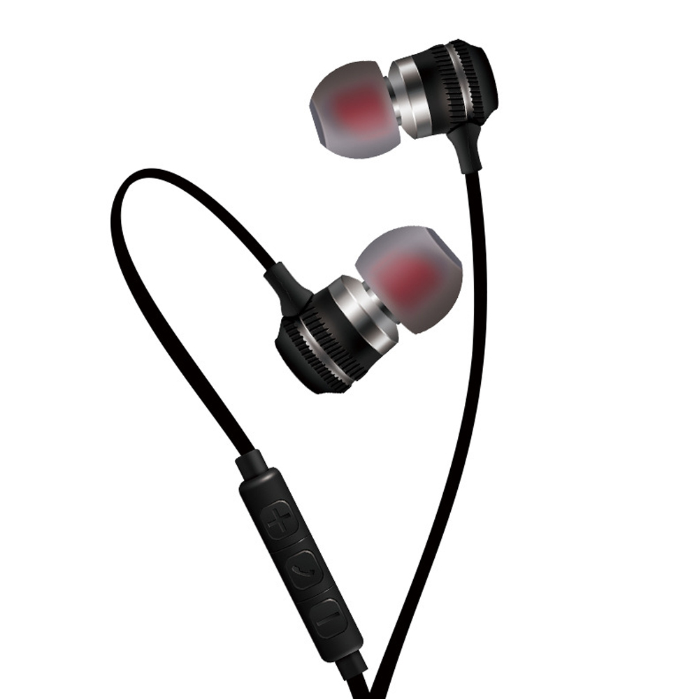 In-ear Wire-controlled Stereo Metal Magnetic Absorption Earphone Black silver
