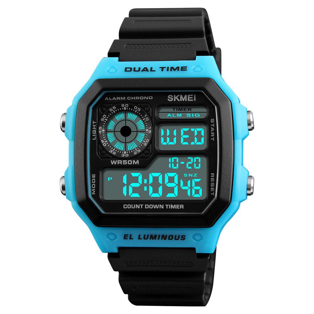 Men Watch Multifunction Waterproof Luminous Outdoor Sport Digital Watch blue