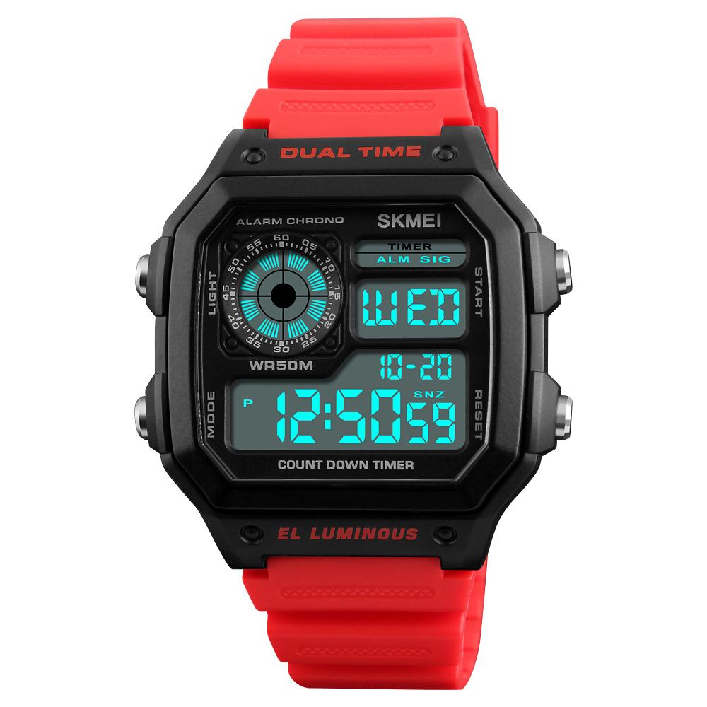 Men Watch Multifunction Waterproof Luminous Outdoor Sport Digital Watch red