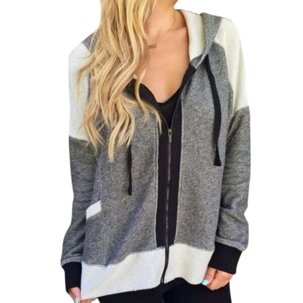 Women Fashion Casual Long-sleeved Hooded Coat Matching Color Blouse Tops