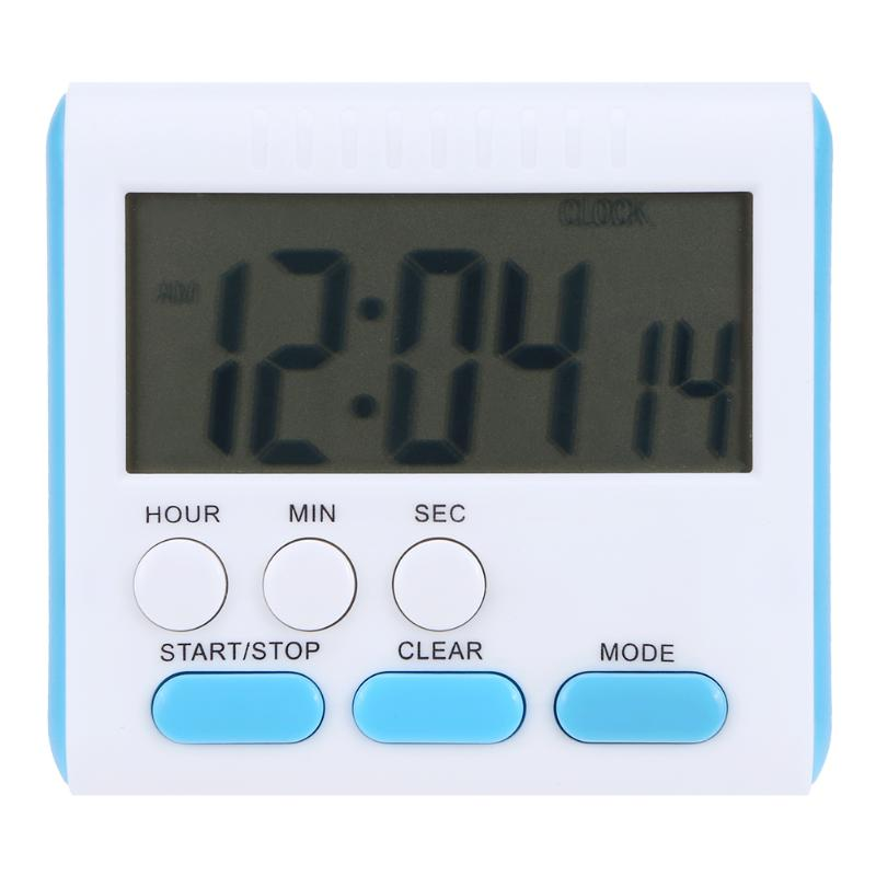 Magnetic Large LCD Digital Kitchen Timer with Loud Alarm Count Up& Down Clock to 24 Hours White + blue