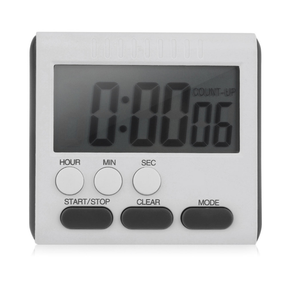 Magnetic Large LCD Digital Kitchen Timer with Loud Alarm Count Up& Down Clock to 24 Hours White + black